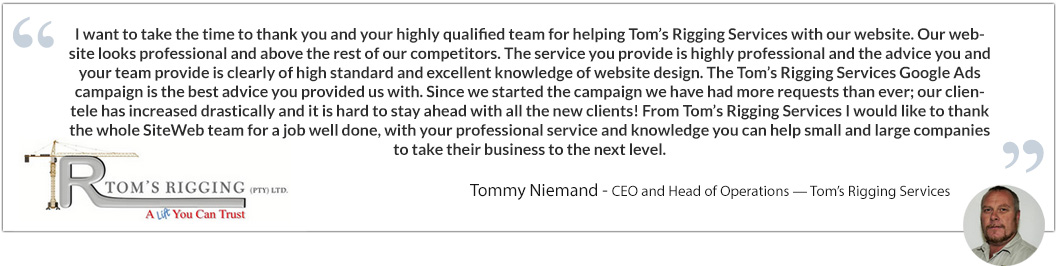 Tommy Niemand testimonial tom's rigging